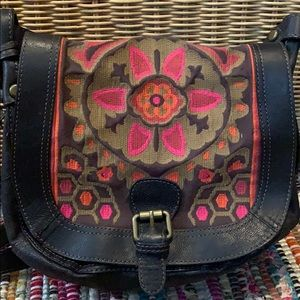 Vintage fossil embroidered crossbody